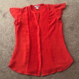 H&M Red Ruffle Sheer Blouse